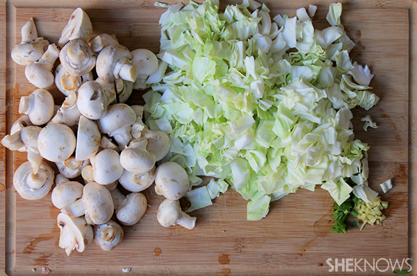 Spicy cabbage and mushroom stirfry | Sheknows.com - vegetables chopped