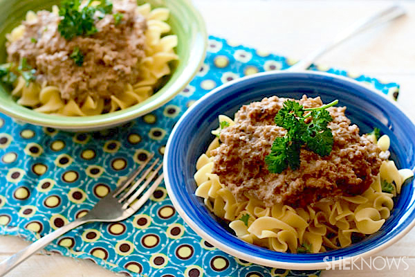 Meatless cheeseburger stroganoff recipe