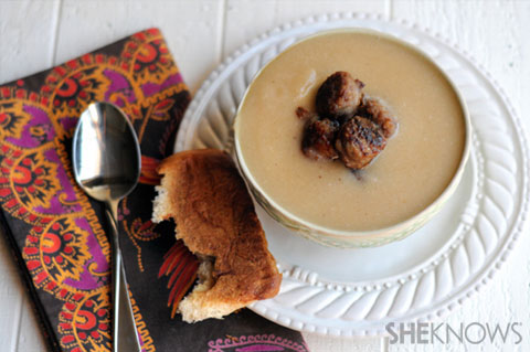 Cauliflower and white bean soup with sausage