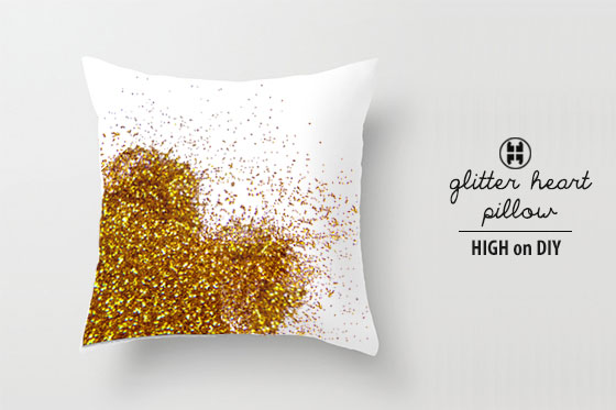 Glittered heart pillow