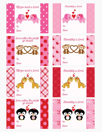 Animals Valentine Cards