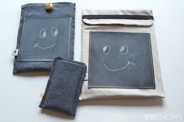 lined tablet cover with chalkboard pocket