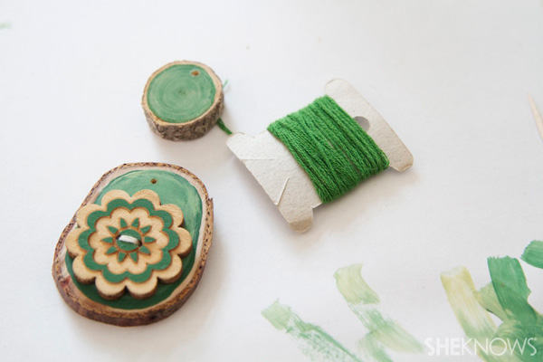 wood disk gift tags Step 2: Use matching embroidery thread