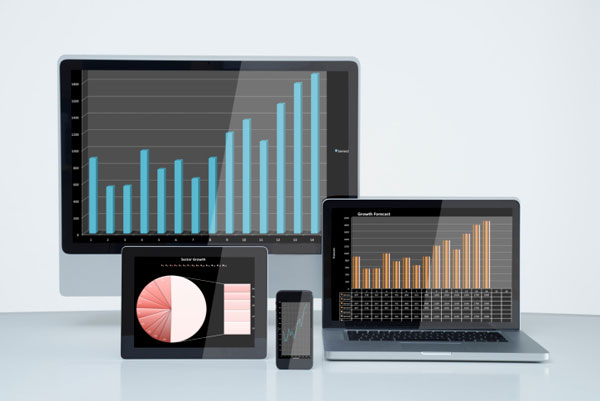 Smartphone tablet and pc with financial data