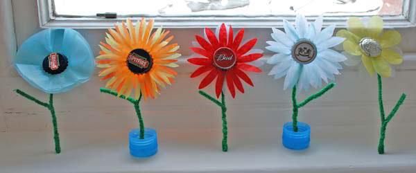Metal bottle top flowers