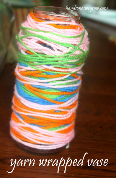 Yarn-wrapped vase