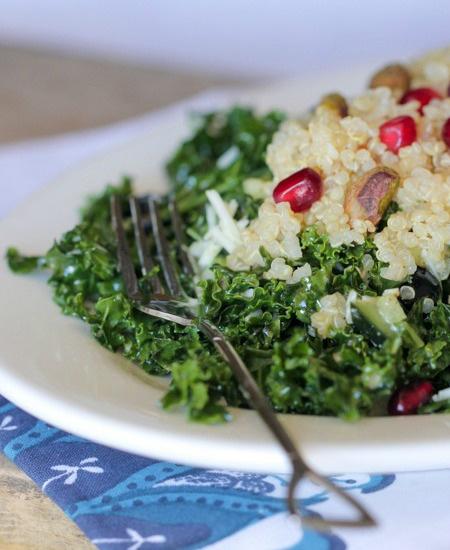 Blueberry Pomegranate Quinoa Kale Salad