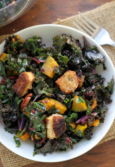 Kale Salad with Brie Croutons