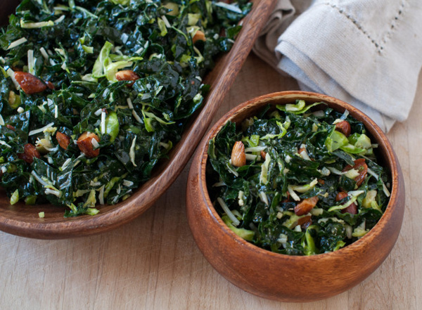 Kale Salad with Brussels Sprouts and Toasted Almonds