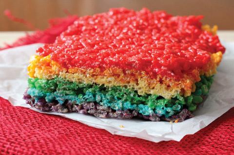 Rainbow-Layered Rice Crispy Treats