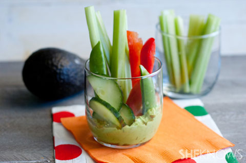 Grab-and-go veggie cups with green goddess dip