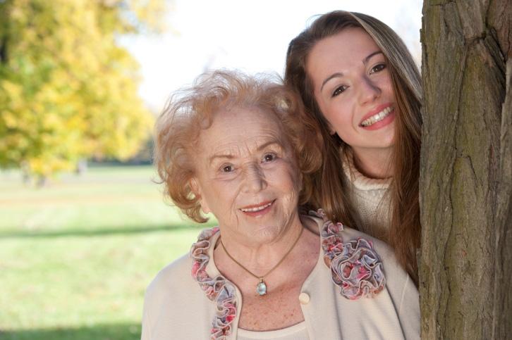 Grandma and granddaughter in the park