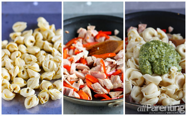 allParenting Cheese tortellini with basil pesto prep collage