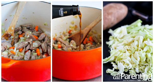 allParenting Sausage, cabbage and Irish stout soup prep