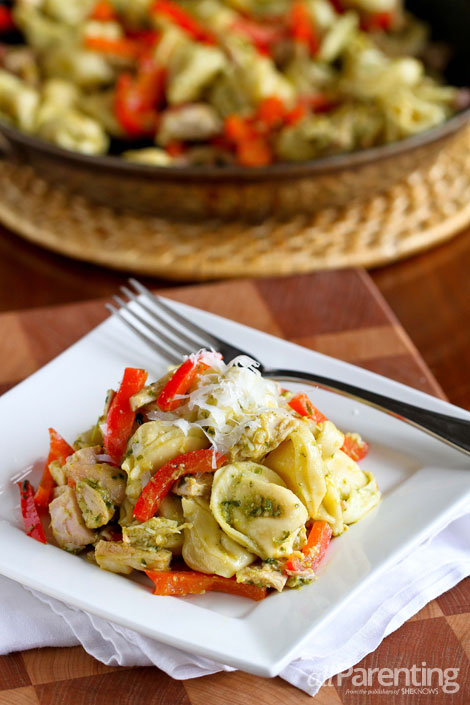 allParenting Cheese tortellini with basil pesto