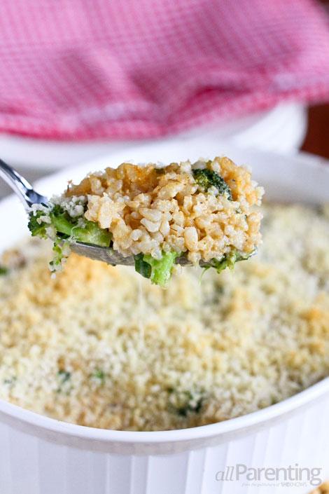 allParenting Cheesy broccoli and rice casserole
