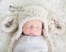 newborn photography prop: Lamb hat