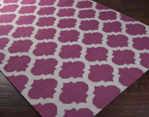Radiant orchid: Fretwork Flat Weave Area Rug in Wine