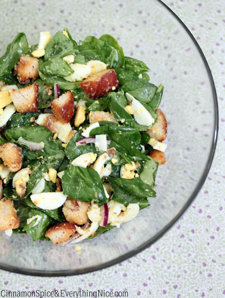 Pinterest spinach: Tossed Bacon, Hard-Boiled Egg and Spinach Salad