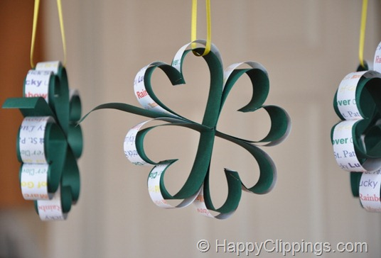 St. Patrick's Day crafts- hanging shamrocks