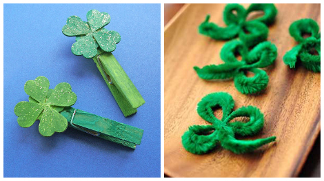 St. Patrick's Day crafts- clover clips and pipe cleaner clovers