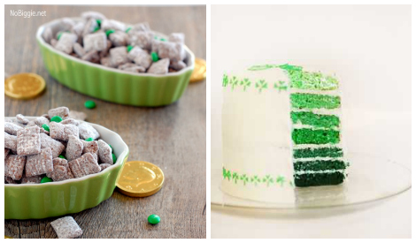 St. Patrick's Day food- ombre cake and muddy buddies mix