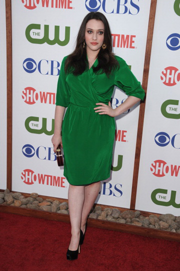 Kat Dennings looked flawless in this bold green option at a CBS and CW event in 2011.