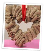 DIY burlap heart wreath