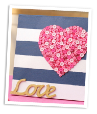 DIY heart striped canvas