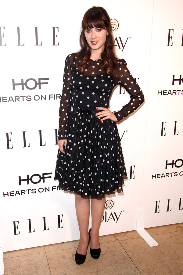 Get the look: Zooey Deschanel's pretty polka dots