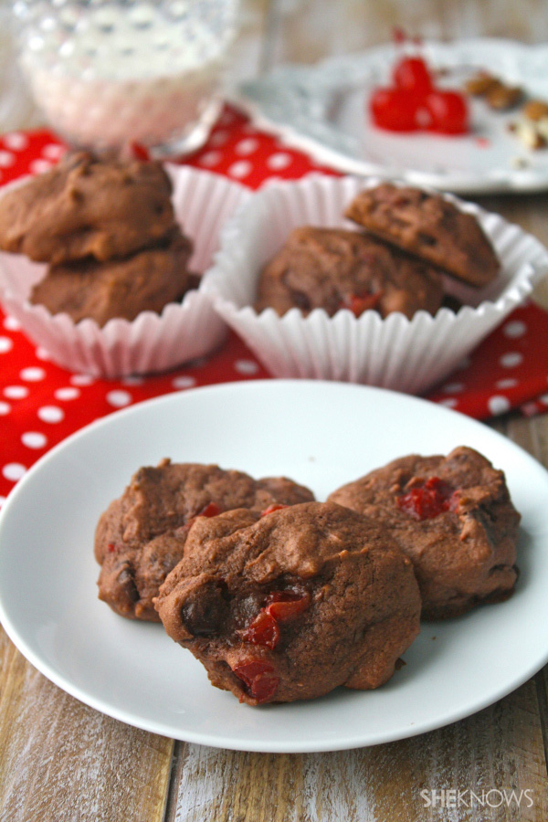 Gluten-free cherry, almond & chocolate pudding cookies