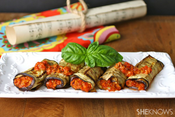 Vegan grilled eggplant rolls with roasted red pepper tapenade