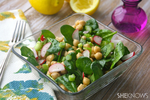 Lemony chickpea and greens salad