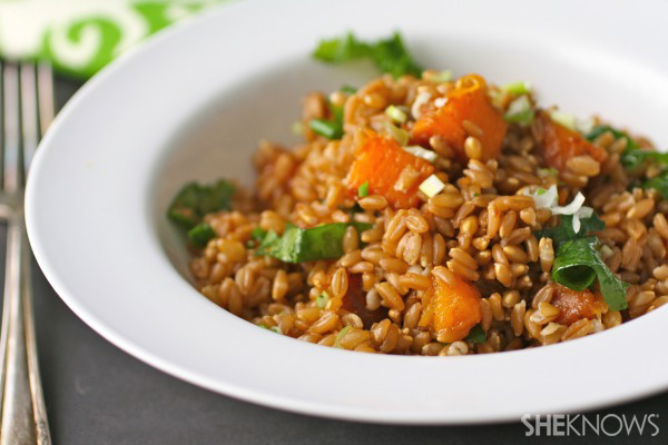 Roasted butternut squash and farro salad with orange-maple vinaigrette