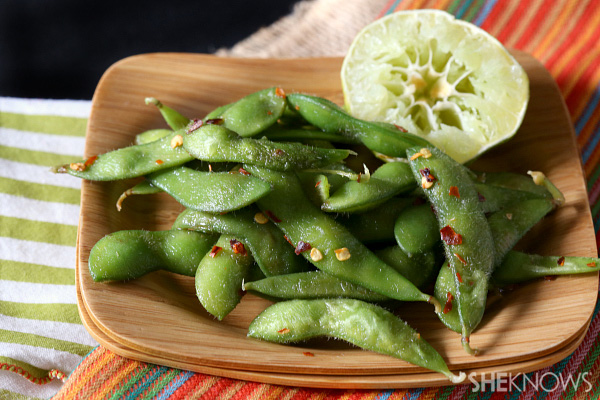 Red pepper and lime edamame