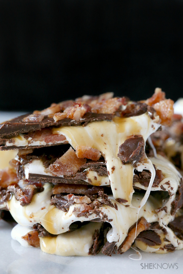 Marshmallow, caramel and bacon bark