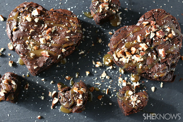 Salted caramel and pecan drizzled heart shaped brownies