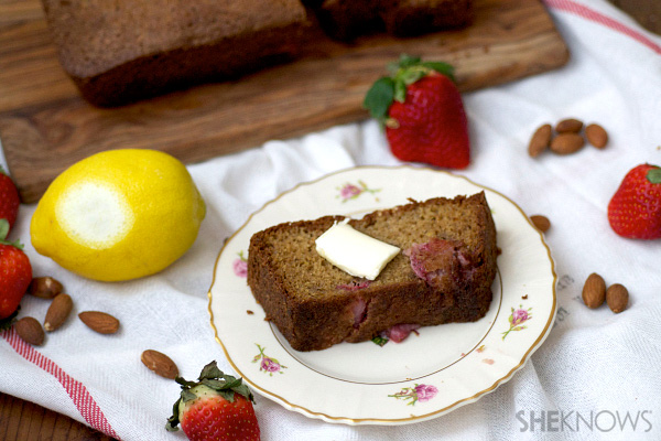 Lemon, strawberry and almond breakfast bread