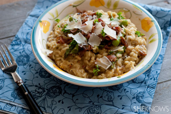 Creamy fontina risotto with bacon recipe
