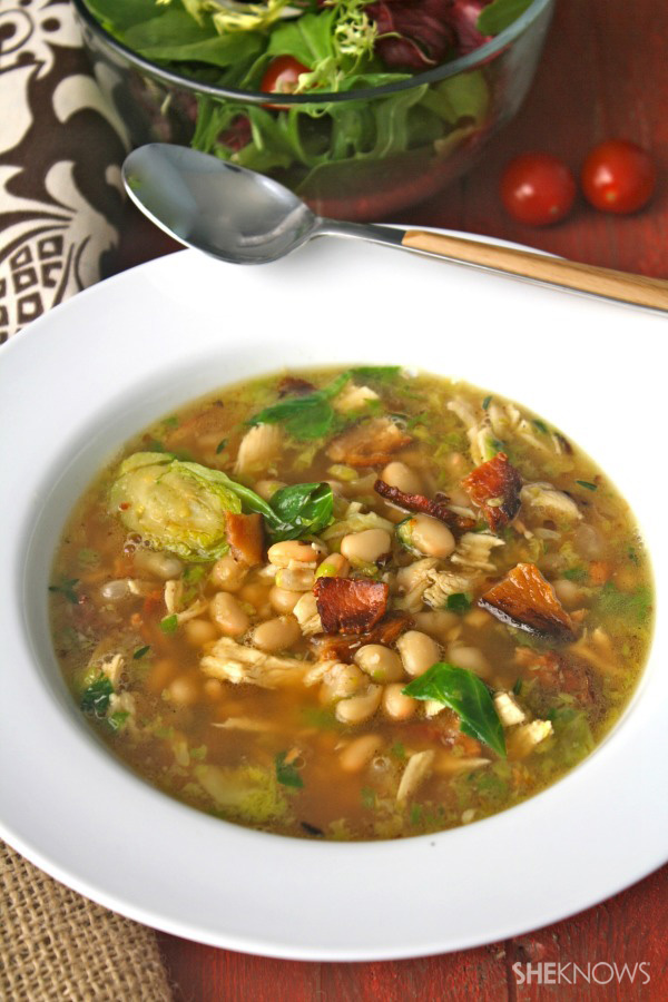 Gluten-free chicken soup with bacon, Brussels sprouts & beans