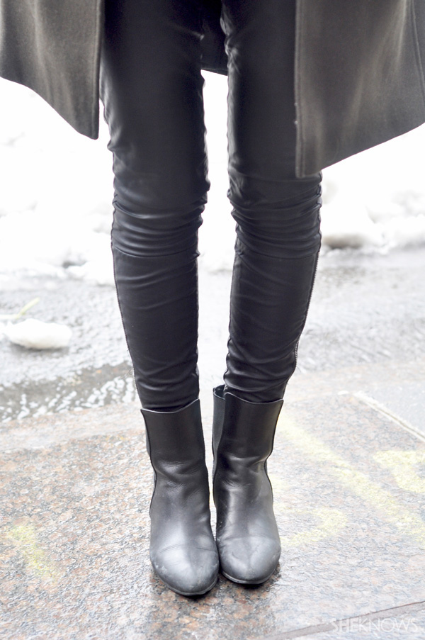 Leather pants and boots scream fashion in the chicest of ways.