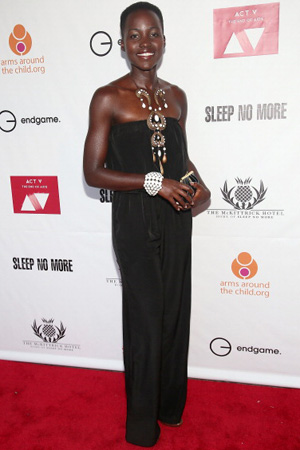 Lupita Nyong'o wearing tribal dress