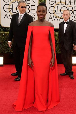 Lupita Nyong'o wearing a Ralph Lauren cape dress at Golden Globes