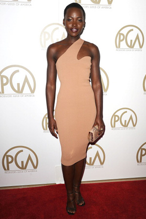 Lupita Nyong'o wearing an asymmetrical Stella McCartney dress