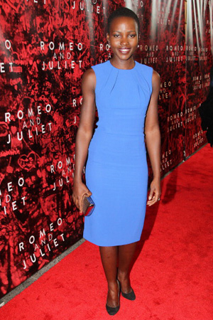 Lupita Nyong'o wearing blue dress