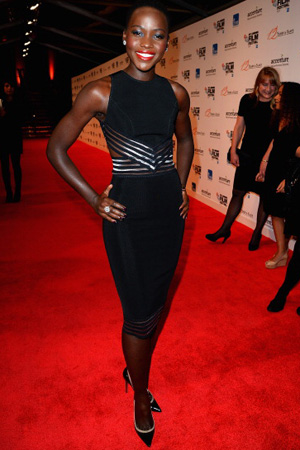Lupita Nyong'o wearing little black dress