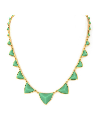 Nicole Richie's House of Harlow green pyramid necklace