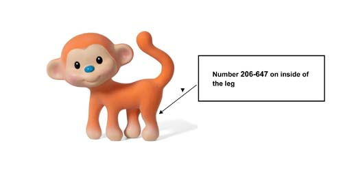 Recalled Infantino monkey teether