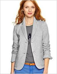 GAP classic ponte blazer in light heather grey (GAP, $88)