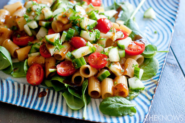 Warm balsamic pasta salad